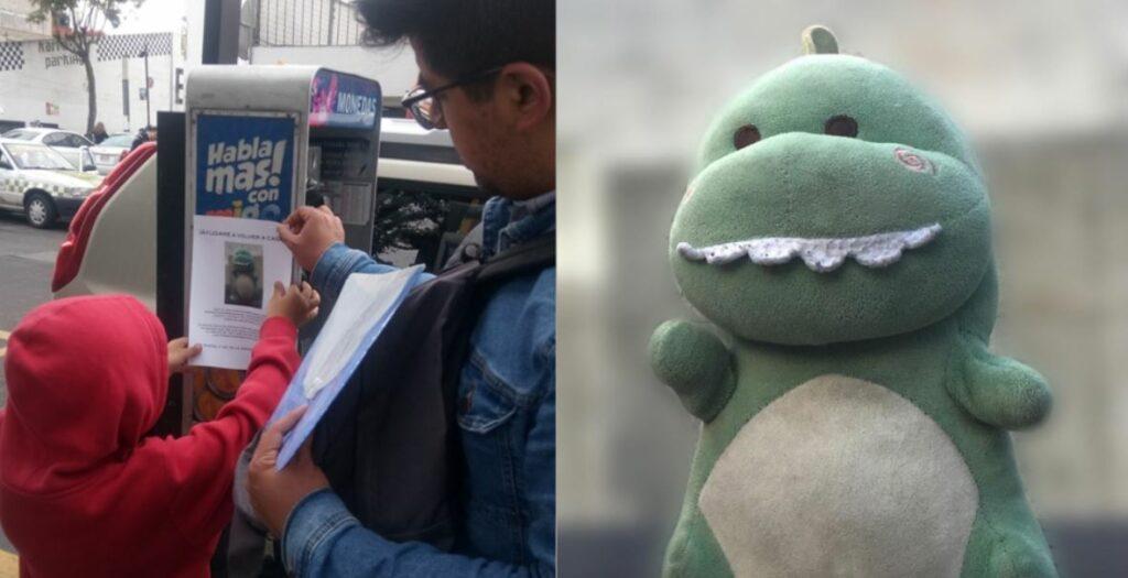 """Niño pega carteles para encontrar a """"Babysaurio"""" extraviado en Toluca"""